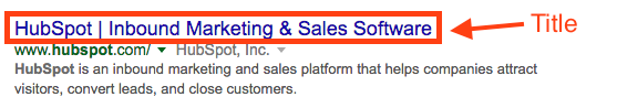 Example of a homepage title in the SERP.