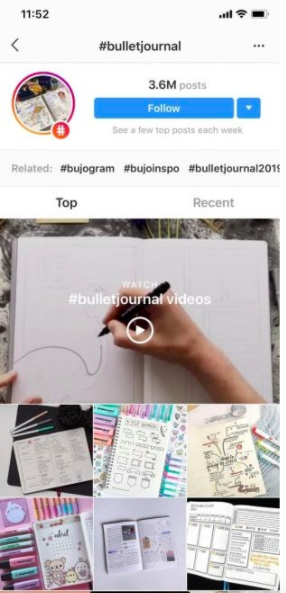 hashtag page for photos with #bulletjournal, including the video from the previous screenshot