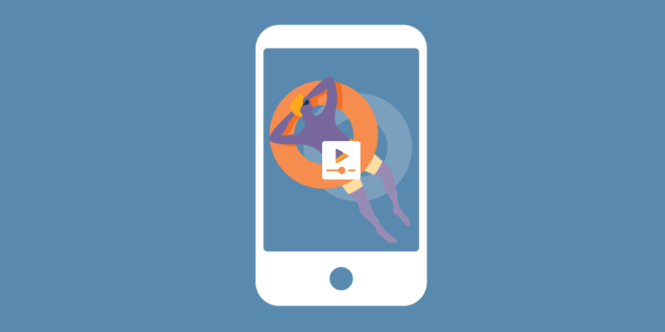 Illustration of an IGTV video on a phone of a man sunbathing