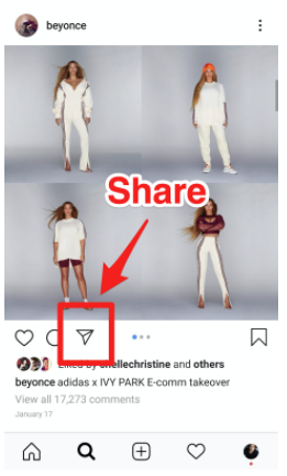 Share button at the bottom of an Instagram post (paper airplane symbol)