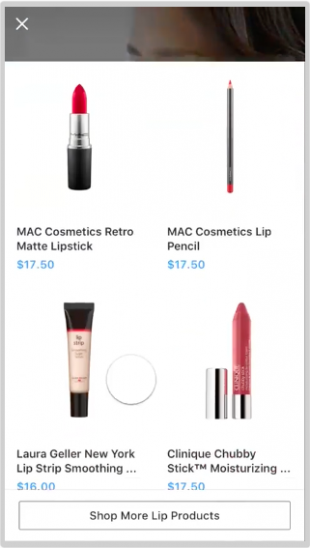 Swipe up reveal on Instagram collection ad by Birch (4 shoppable makeup products featured in the ad)