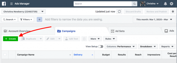 """Ads Manager dashboard highlighting """"+Create"""" button"""