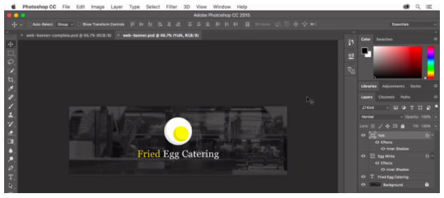 """Design for a header image for """"Fried Egg Catering"""" in Photoshop"""