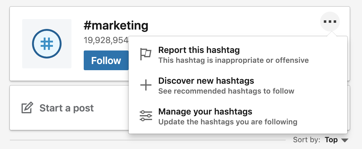 """Highlighting """"Discover new hashtags"""" for #marketing"""