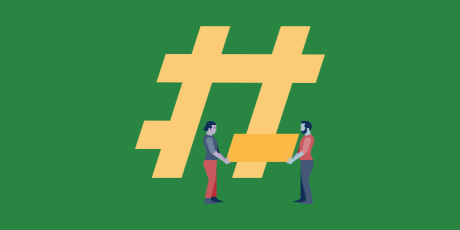 Illustration of two people building a giant hashtag (pound symbol)