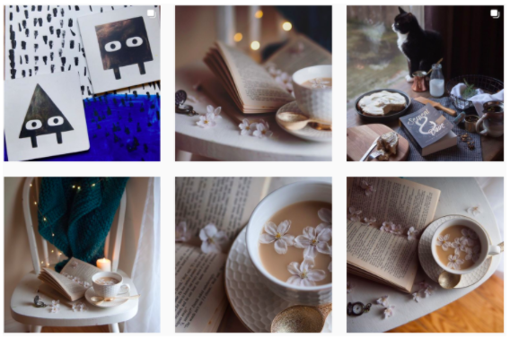 Instagram grid from @fictionalmeg showing pictures from the same shoot with different angles