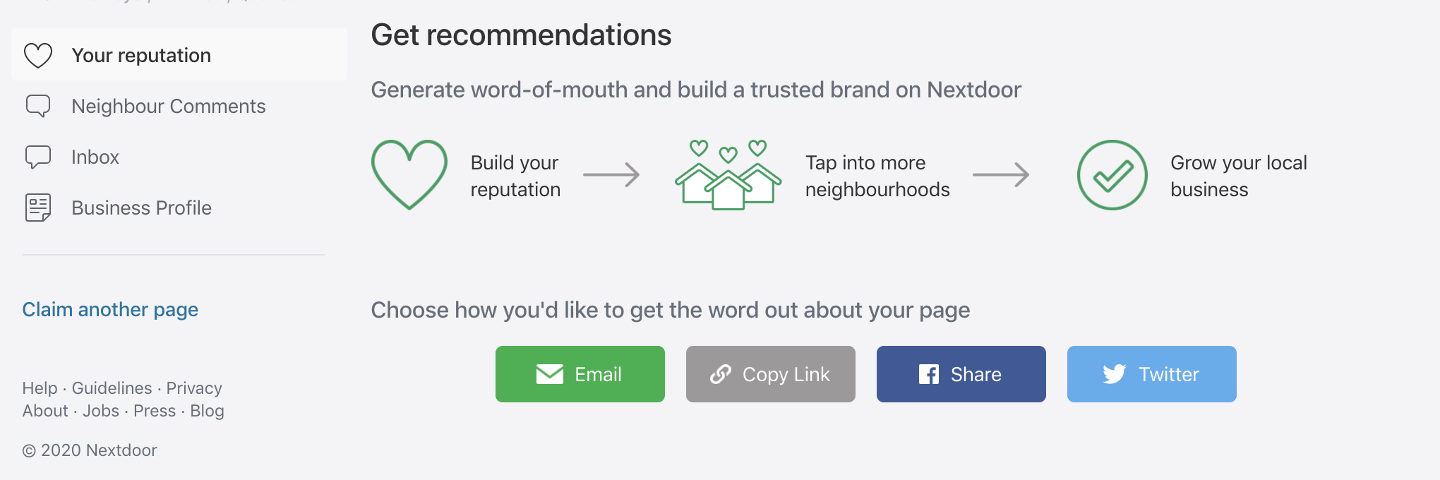 """Your reputation"" tab in Nextdoor for Business with prompt to ""Get recommendations"" via email, copy link, Facebook share, or Twitter"