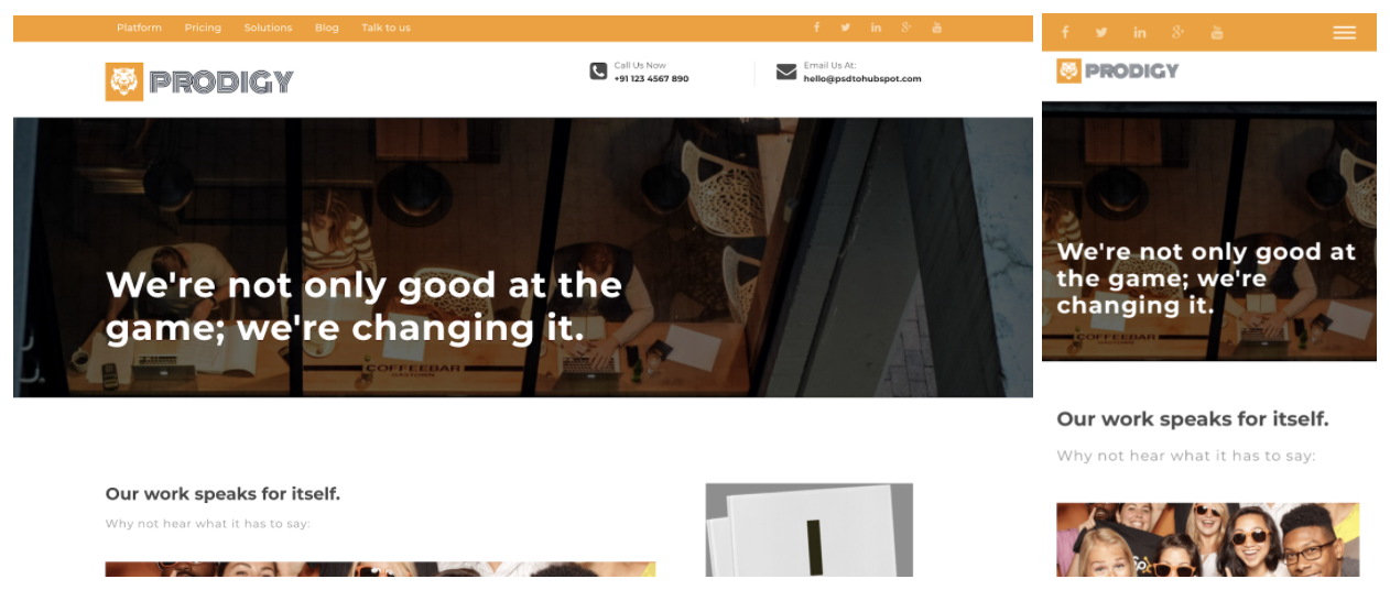 prodigy responsive web design template