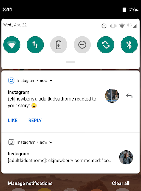 Instagram notification