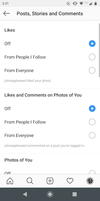 Notification options in Instagram
