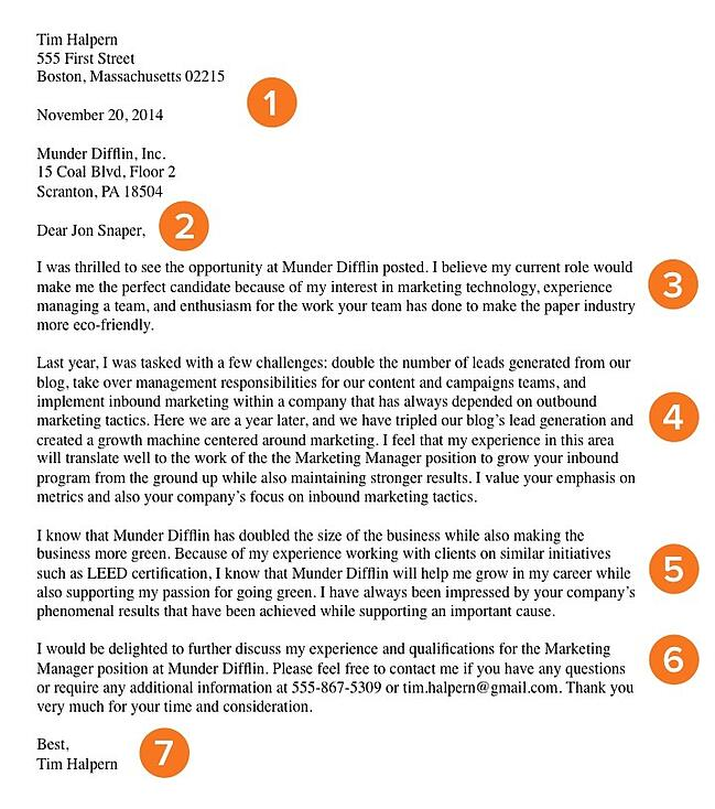 Basic cover letter template with 7 qualities to learn from.
