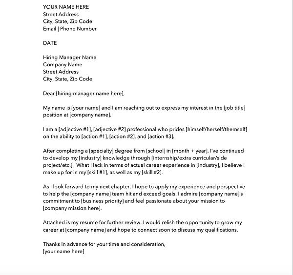 Entry level cover letter template.