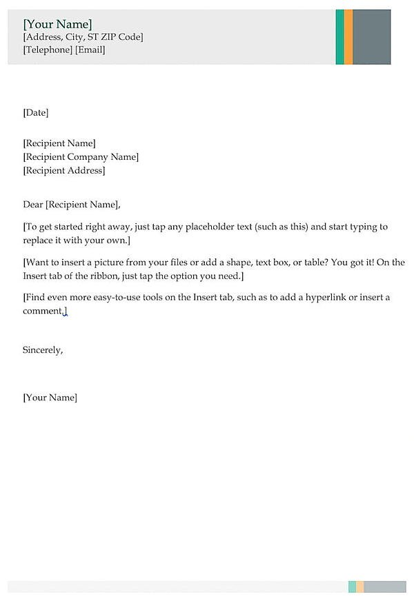 Business cover letter template.