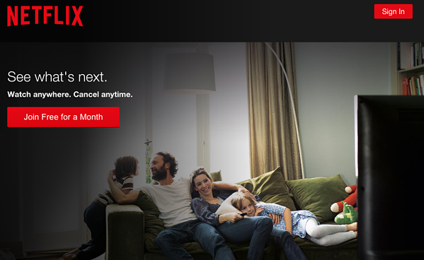 Example call to action button by Netflix