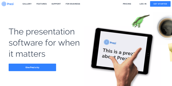 Example call to action button by Prezi