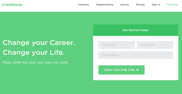 Example call to action button by Treehouse