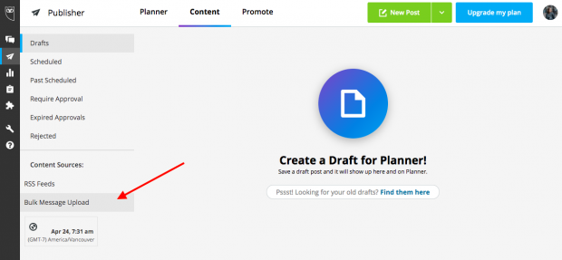 Option to bulk schedule social media posts in Hootsuite
