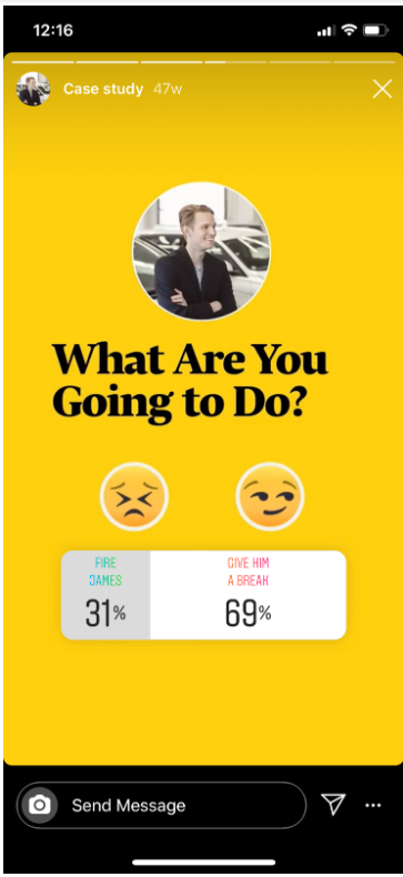 """Instagram story poll by Harvard Business Review: left option is """"Fire James"""" and right option is """"Give him a break"""""""