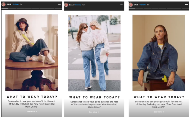 3 scenes from an Instagram Stories ad by Top Shop Canada