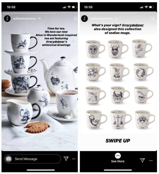 2 Instagram stories from Williams Sonoma featuring stacked teacups