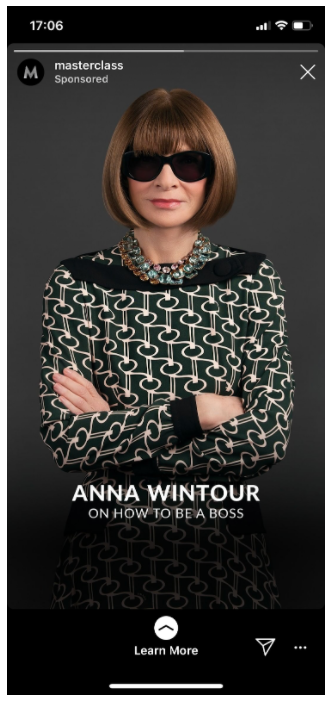 """Instagram Story from Masterclass featuring """"How to Be a Boss"""" by Anna Wintour"""
