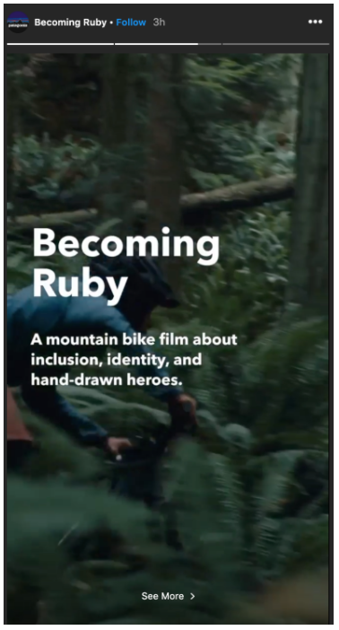 Patagonia Instagram Story with title: Becoming Ruby: a mountain bike film about inclusion, identity, and hand-drawn heroes