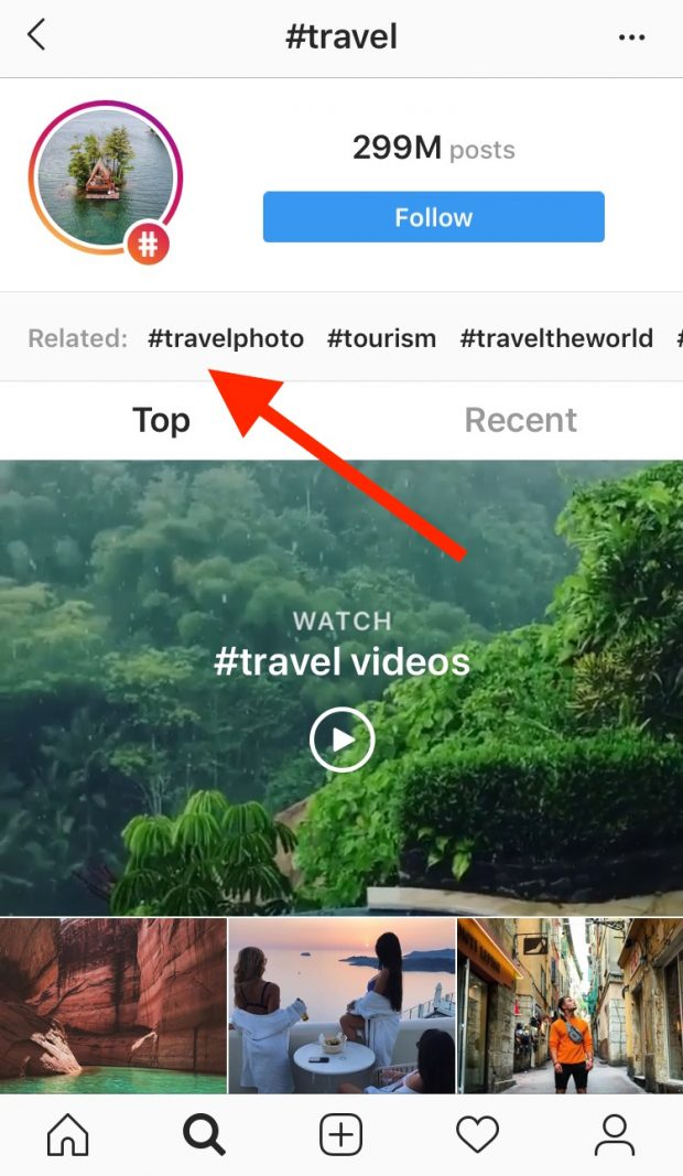 """hashtag page for """"travel"""" on Instagram, highlighting related hashtags"""