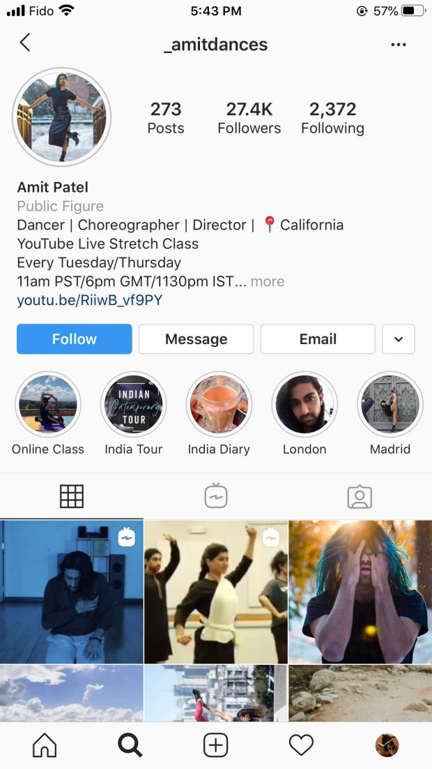 Amit Patel Instagram profile with live stream schedule