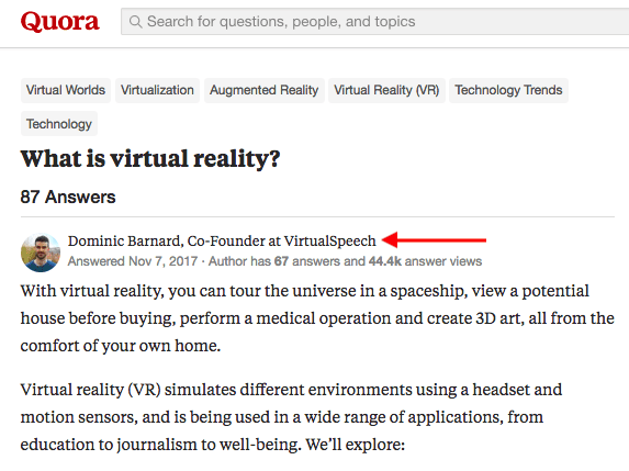Question on Quora asking What virtual reality is, answered by man with professional title