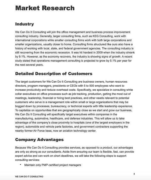 Small Business Administration sample business plan.
