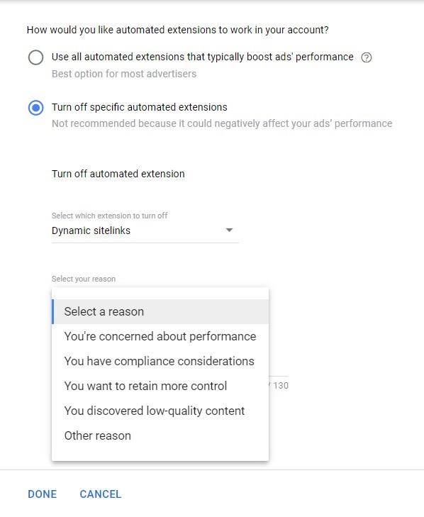 turn off automated extensions