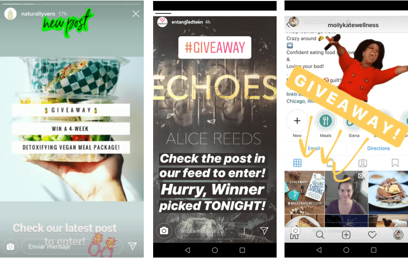 instagram story giveaway