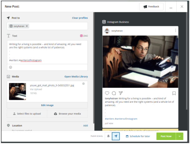 Post Now button in Hootsuite (and also Schedule for Later)