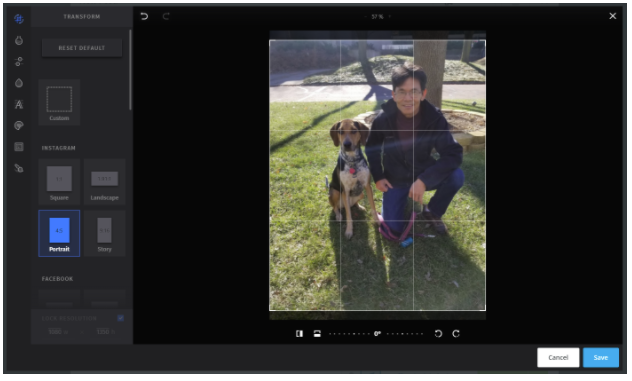 editing an Instagram photo in Hootsuite Compose