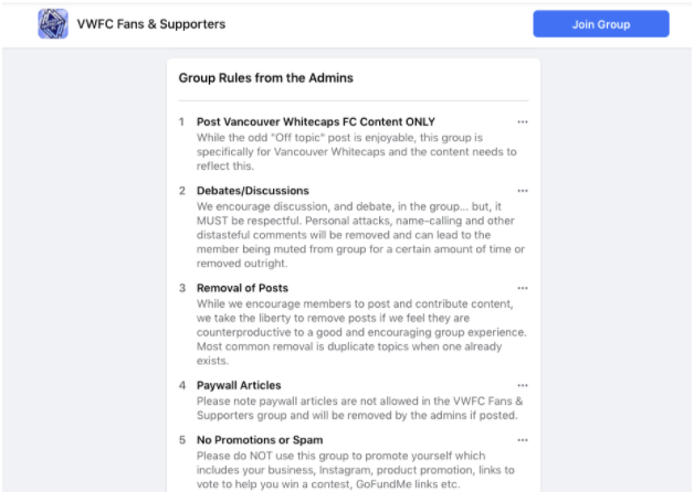 Vancouver Whitecaps Fans Facebook Group rules