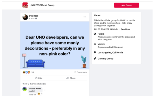 """Customer request for """"manly decorations"""" in Uno! Facebook group"""