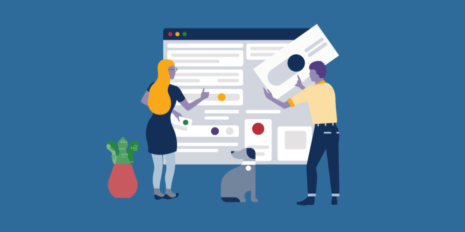 Illustration of two people managing a Facebook group, accompanied by dog and plant