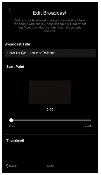 Edit Broadcast screen on Twitter Live