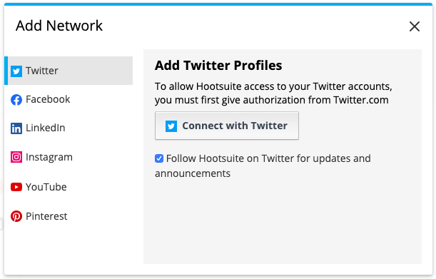 connect with Twitter prompt in Hootsuite