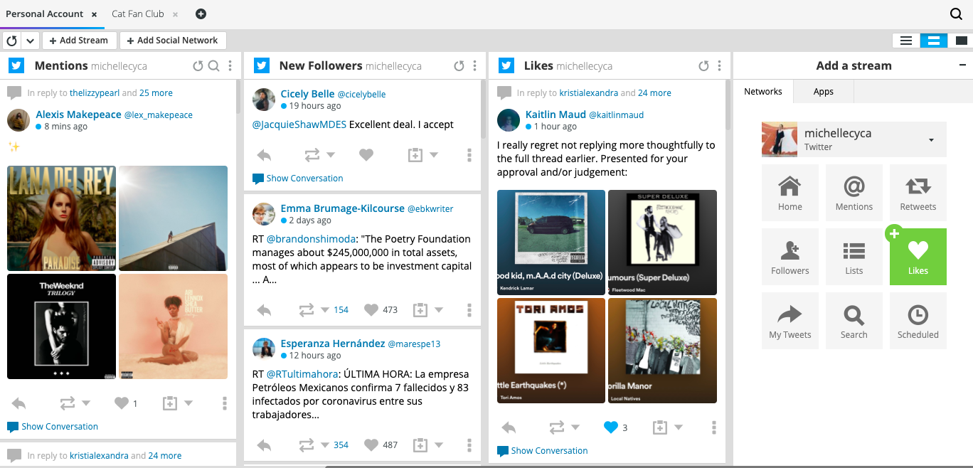 Twitter streams from multiple Twitter accounts in Hootsuite