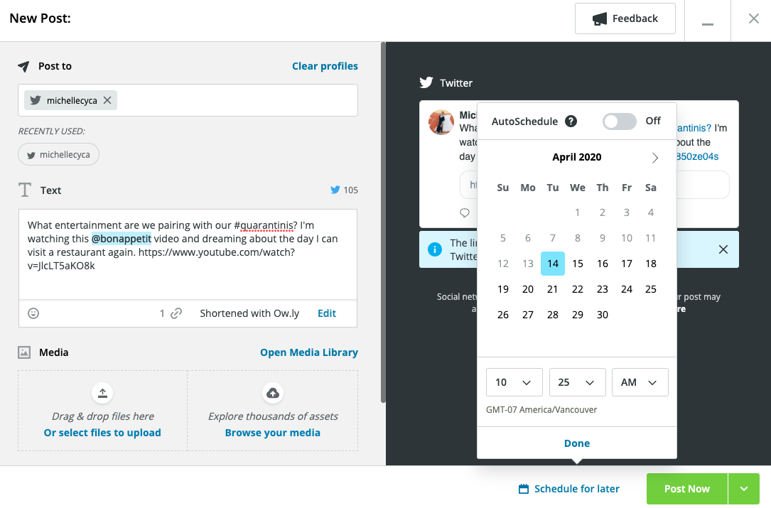 scheduling a Twitter post in Hootsuite