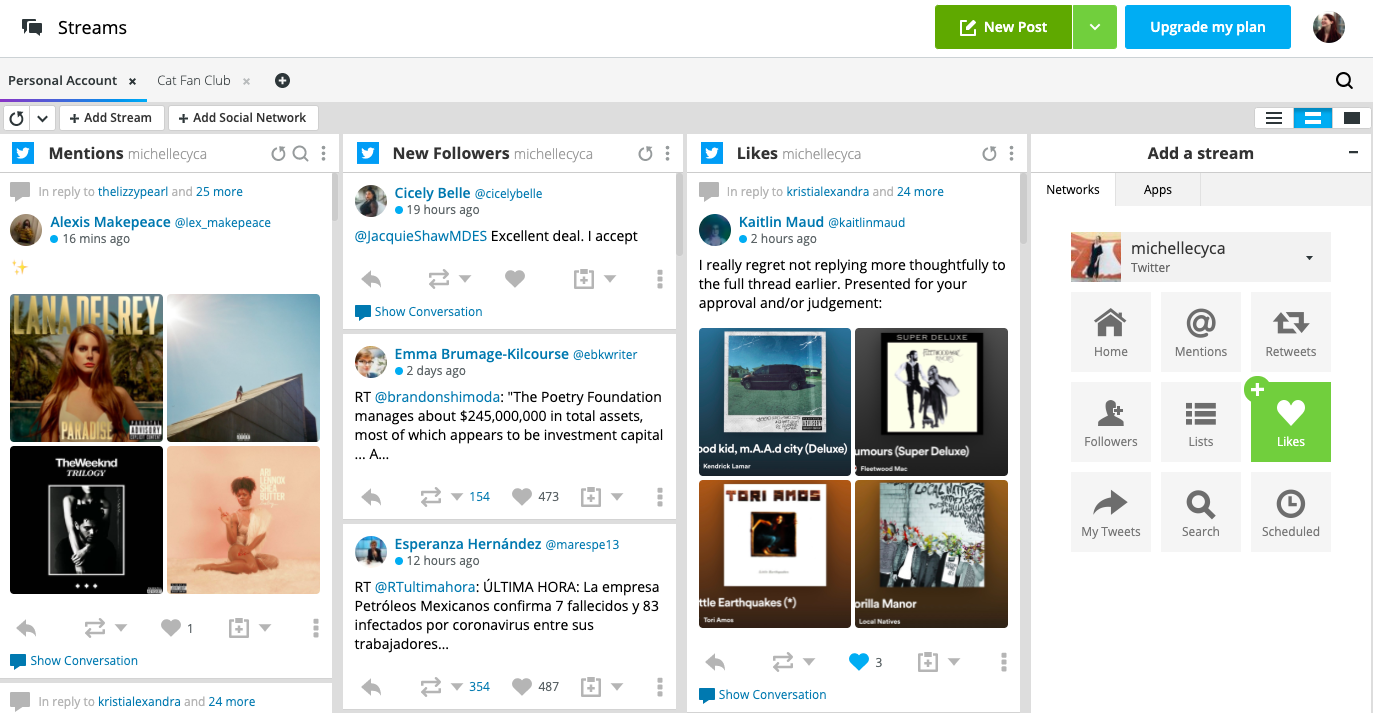 Hootsuite dashboard with multiple Twitter accounts in streams, with New Post button in top right