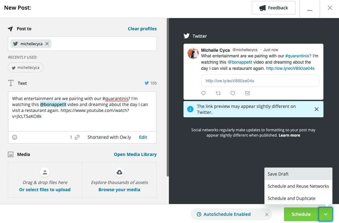 save draft option in Hootsuite Compose