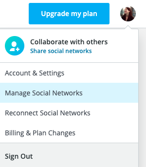 Manage Social Networks button