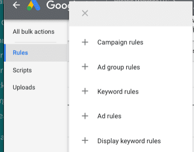 Screenshot of Google Ads Rules