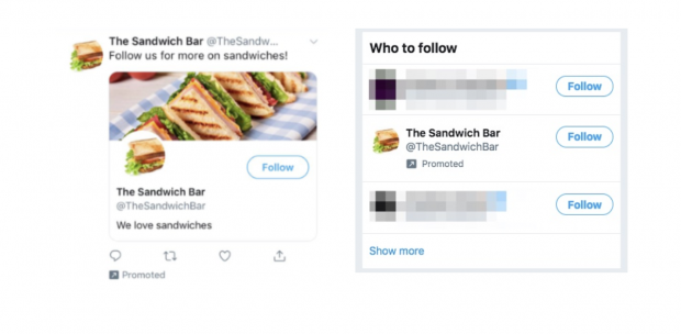 Promoted Twitter account example