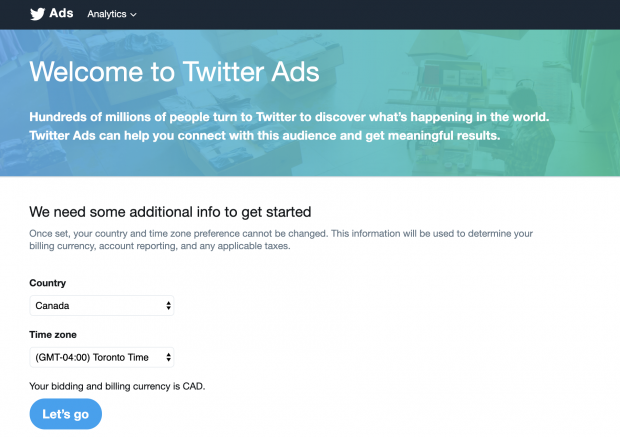 twitter ads account sign up