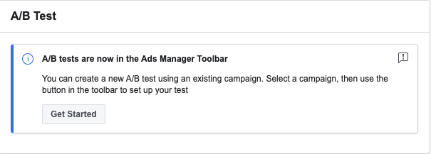 Ads manager A/B test in Toolbar