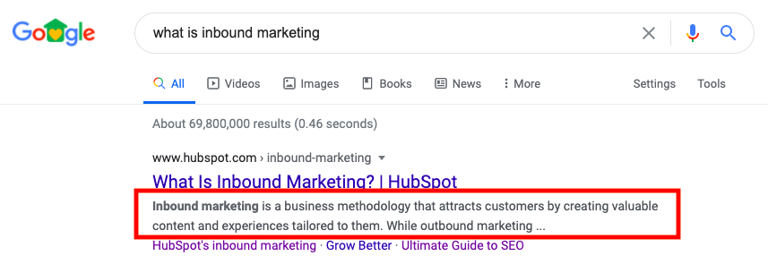example of a meta description on a serp