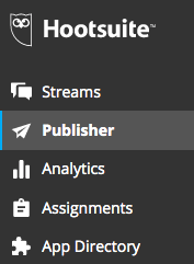 Publisher button and icon in Hootsuite